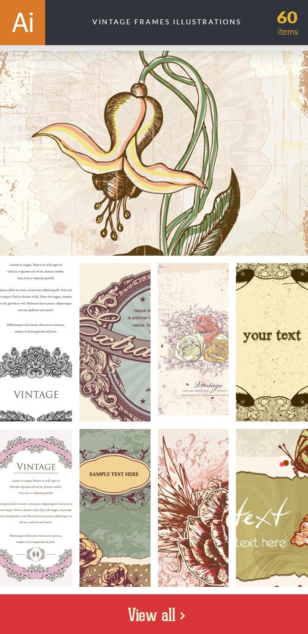 Graphic Design Illustrations - 2000+ Pro Digital Illustrations - inkydeals vector vintage frames illustrations small