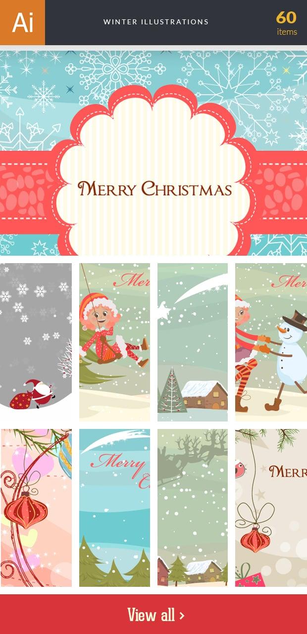Graphic Design Illustrations - 2000+ Pro Digital Illustrations - inkydeals vector winter illustrations small