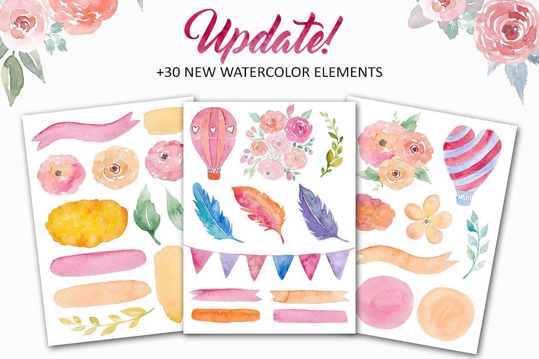 Design Bundle: 400 Watercolors Elements