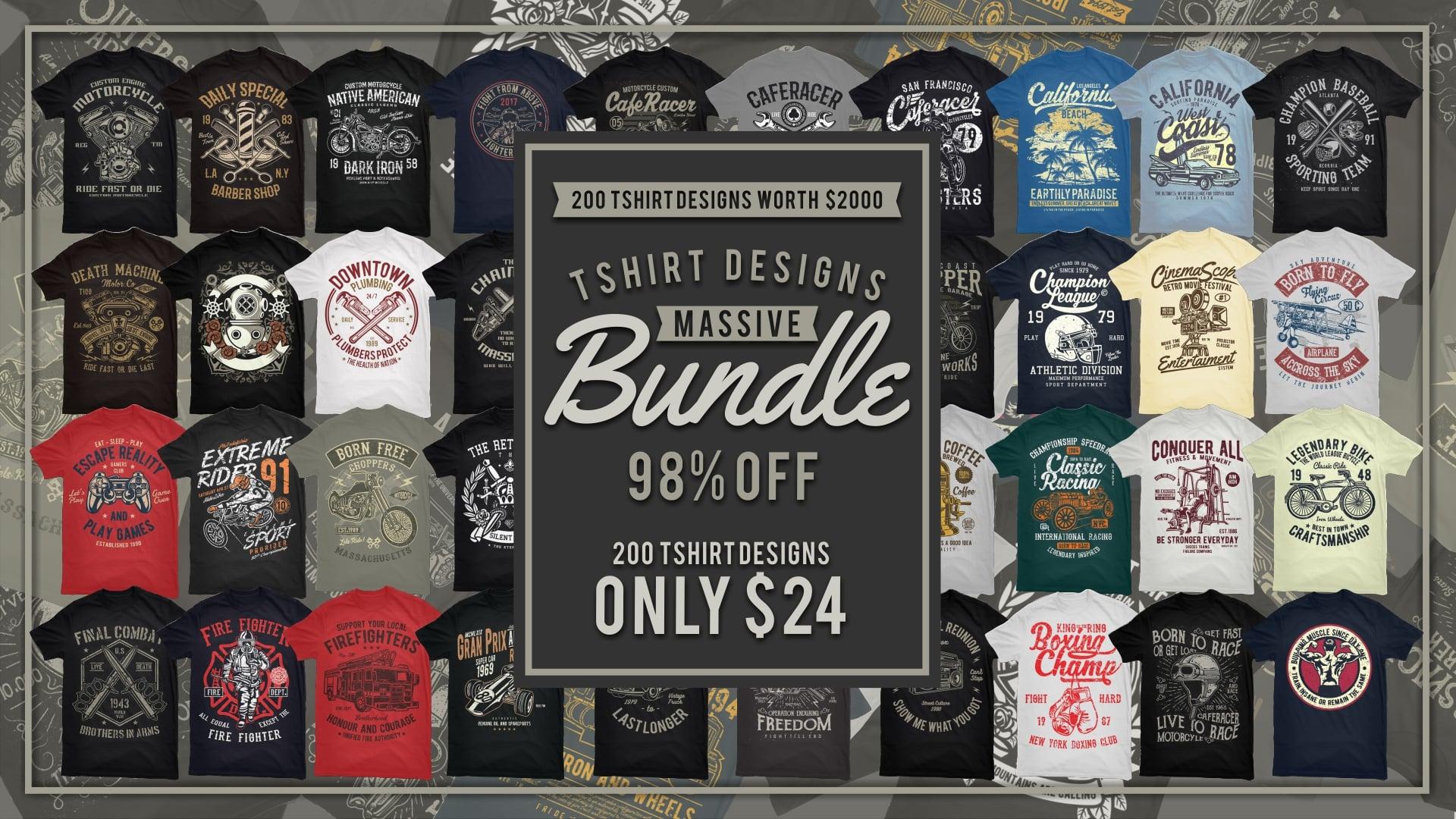 200 T-shirt Designs Mega Collection
