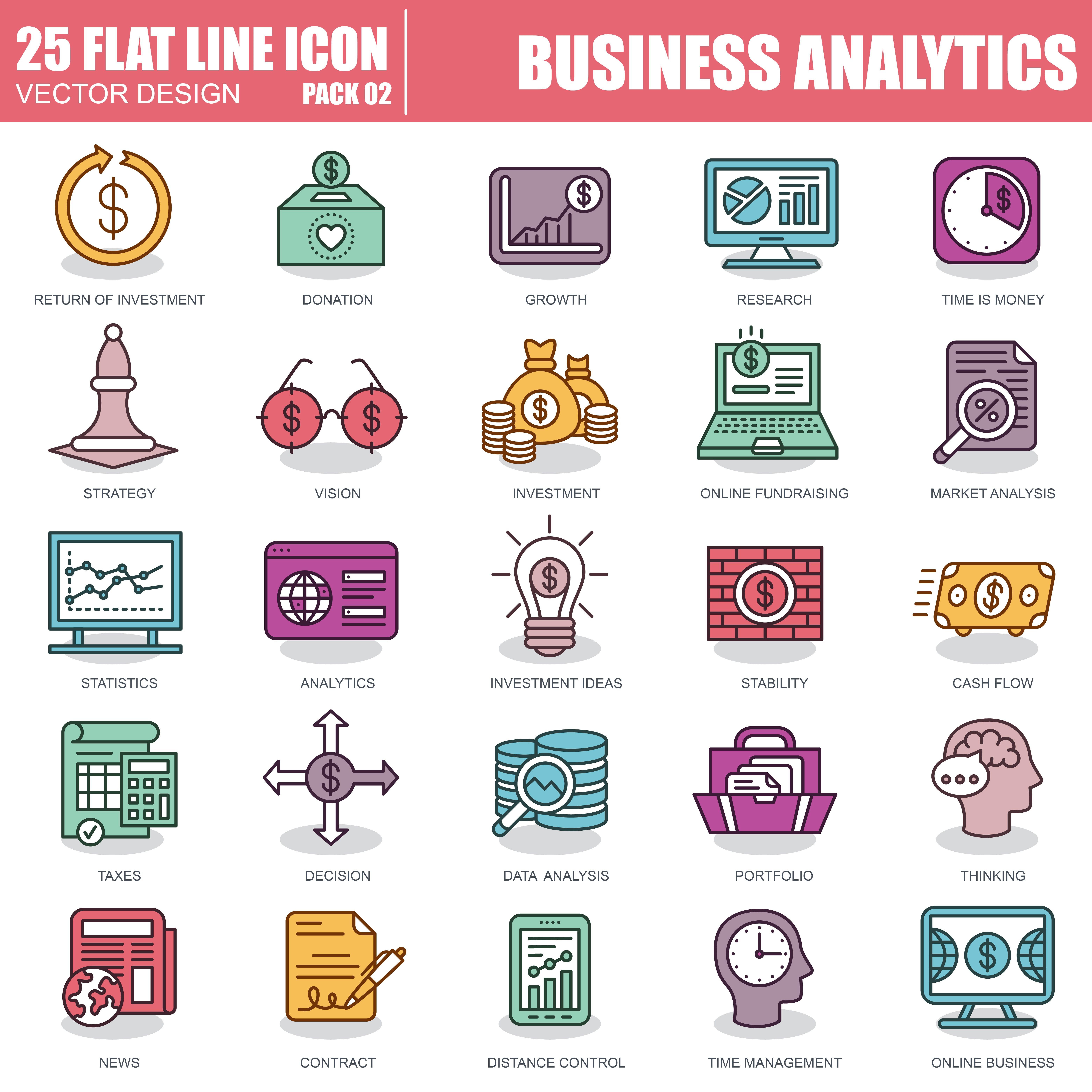 1000 Business Line Icons - just $22 - 2 5