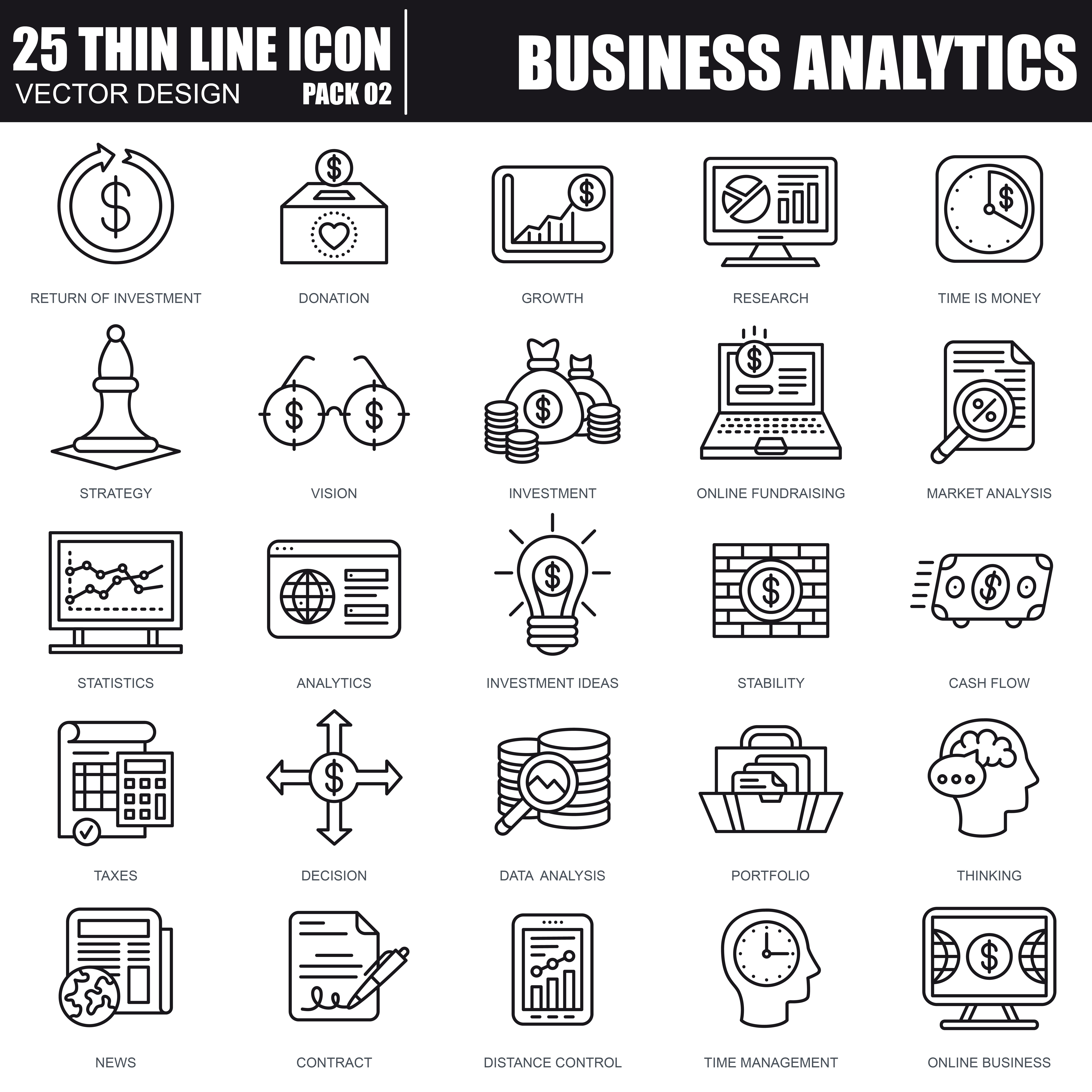 1000 Business Line Icons - just $22 - 22