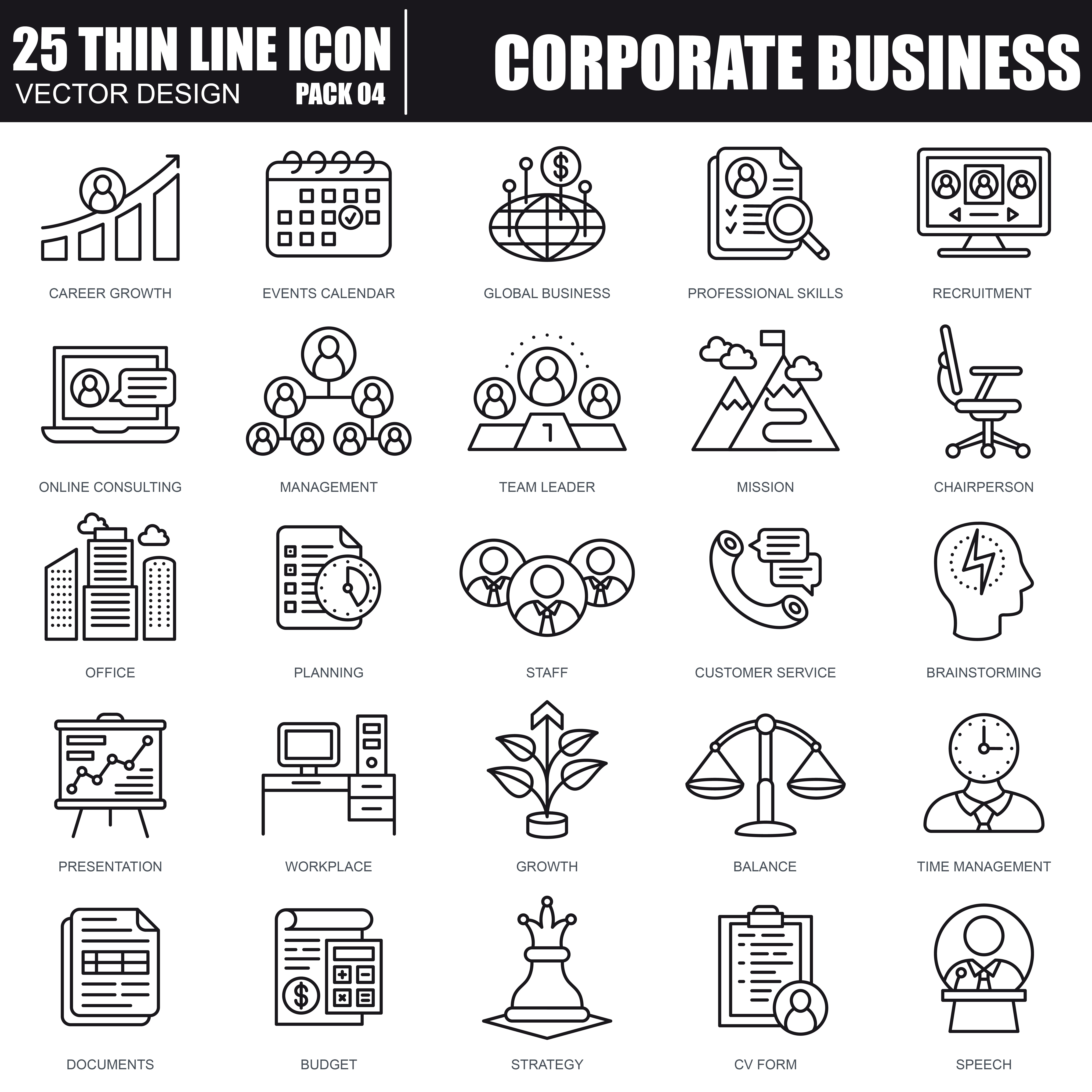 1000 Business Line Icons - just $22 - 24