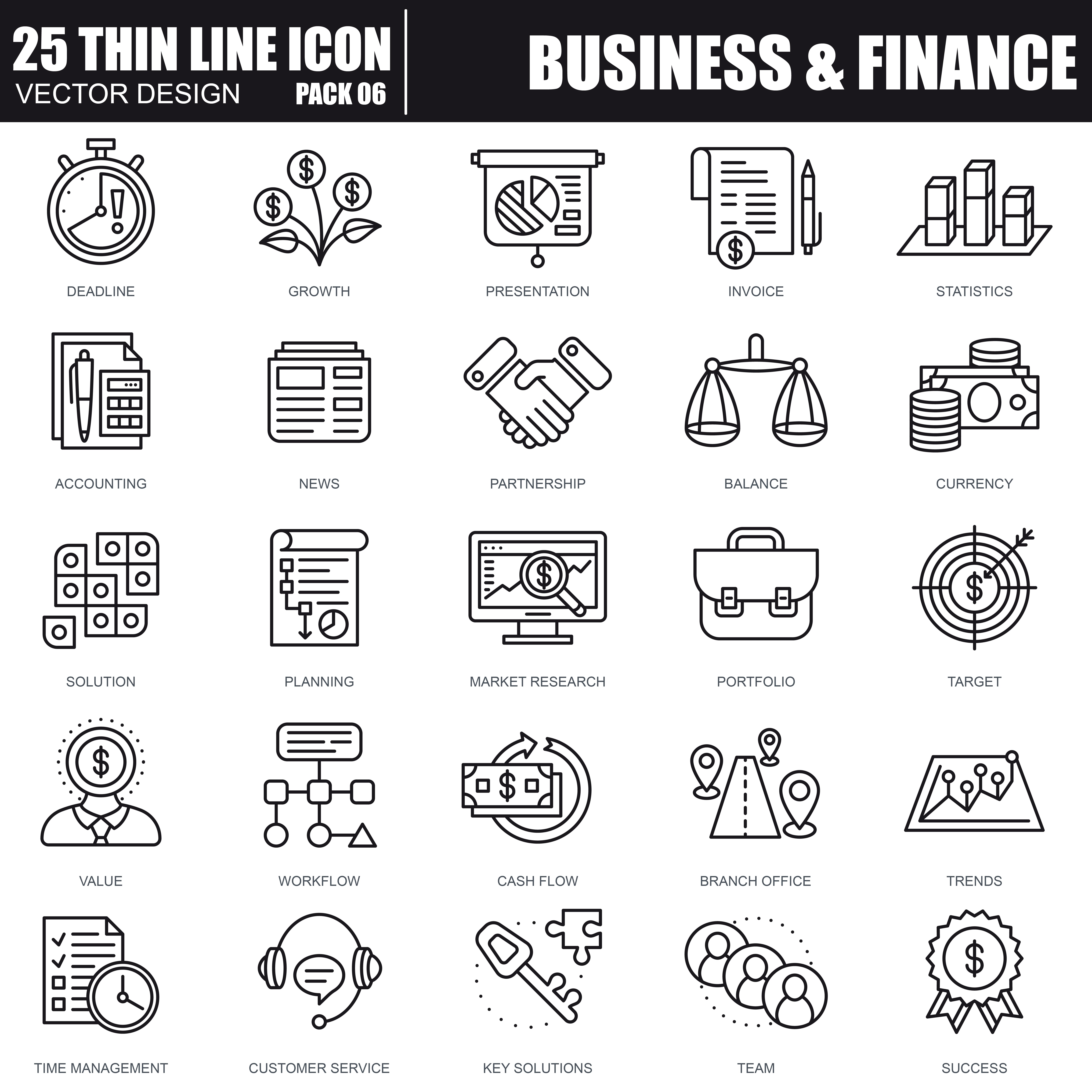 1000 Business Line Icons - just $22 - 26