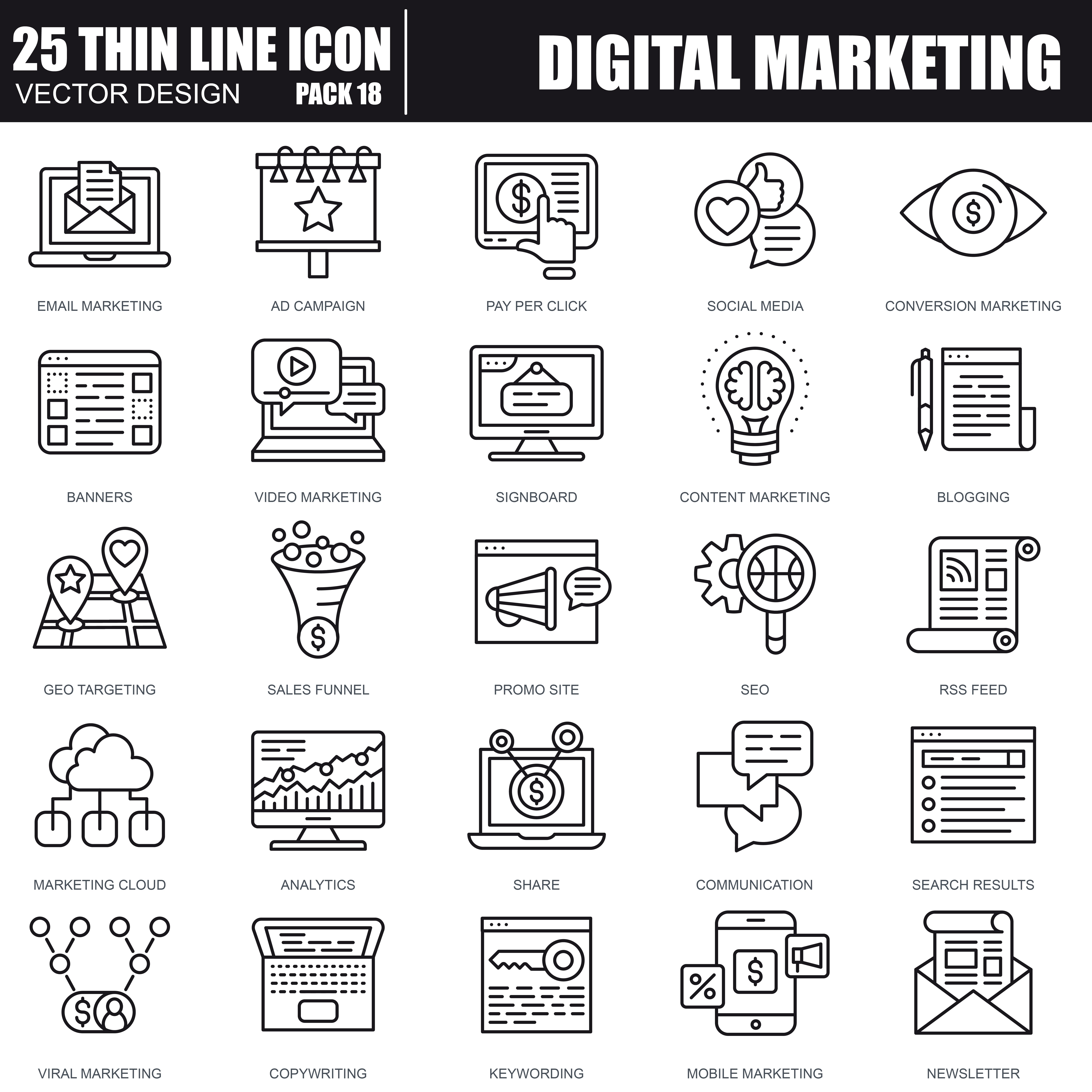 1000 Business Line Icons - just $22 - 38