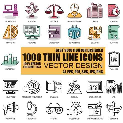 BEST PRICE: 800 Color Flat Line Web Icons - just $16 - 490x490