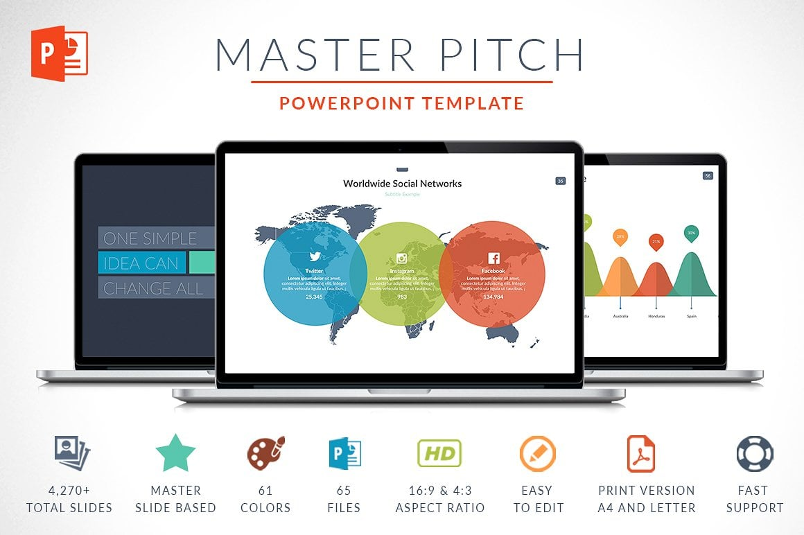 Modern PowerPoint Templates in 2021. Bundle: 44+ Templates - $35 - cover 1 o