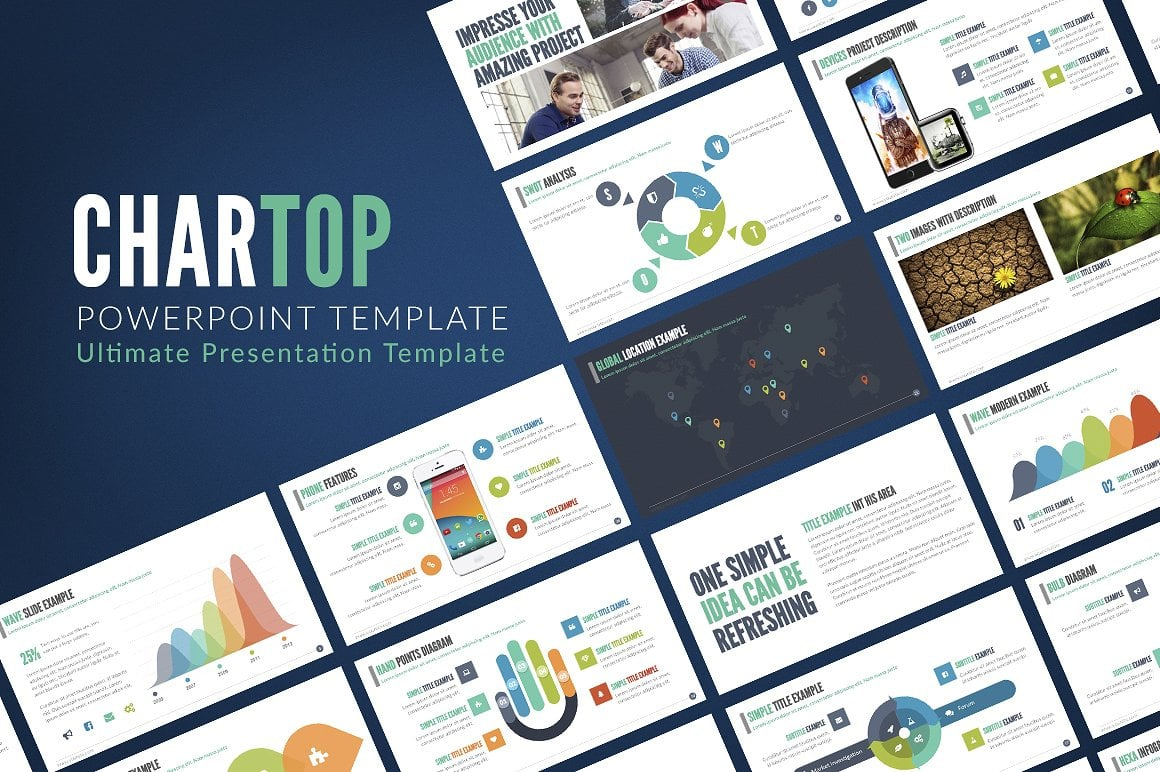 Modern PowerPoint Templates in 2021. Bundle: 44+ Templates - $35 - cover chartop 3
