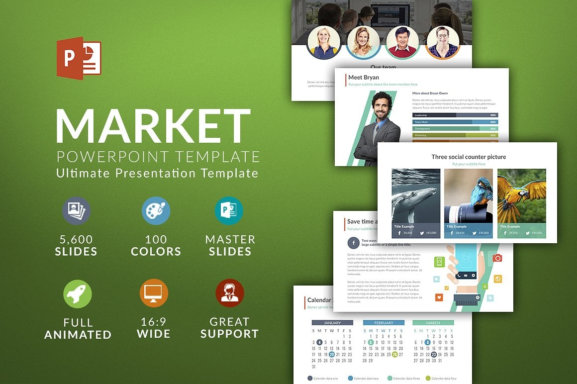 Modern PowerPoint Templates in 2021. Bundle: 44+ Templates - $35 - cover market 2