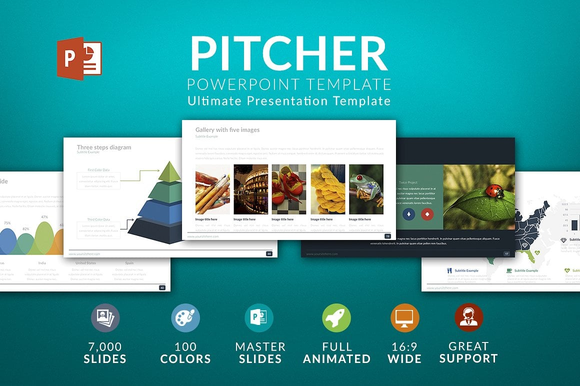 Modern PowerPoint Templates in 2020. Bundle: 44+ Templates - $35 - cover pitcher 2