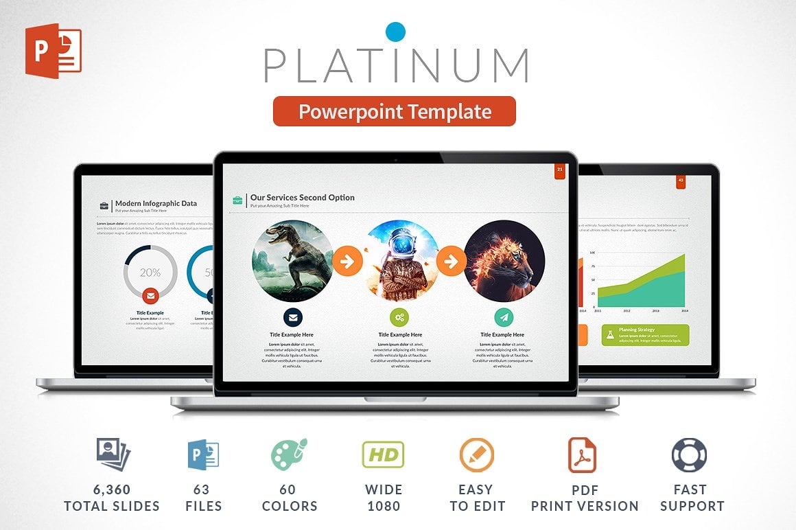 Modern PowerPoint Templates in 2021. Bundle: 44+ Templates - $35 - cover platinum