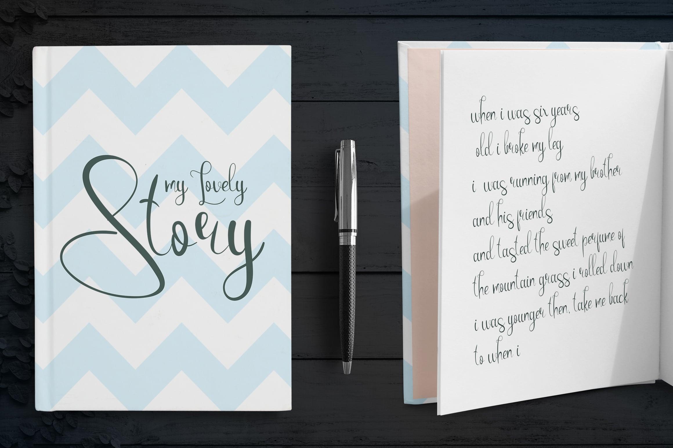 Gentle notebook in blue color.