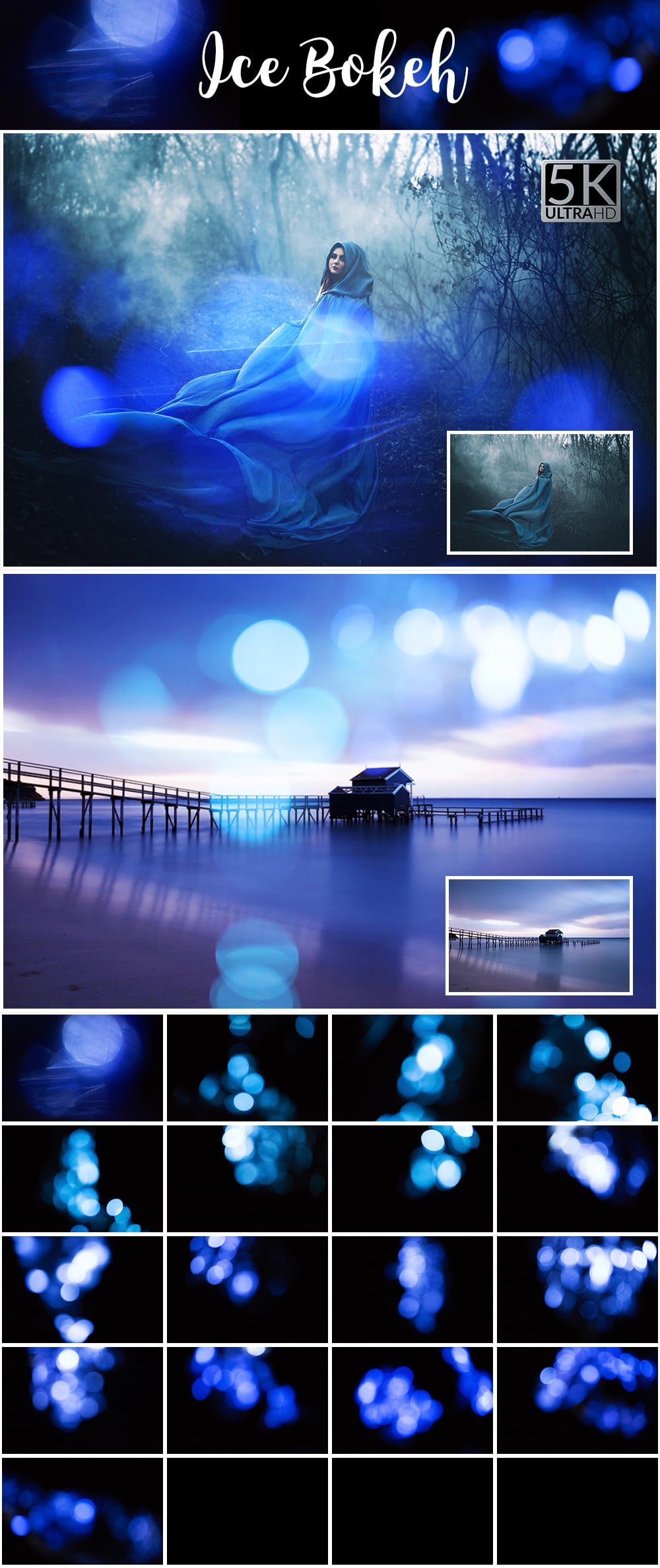 1100 Photoshop Overlays Mega Pack - Extended License - 11 Ice Bokeh