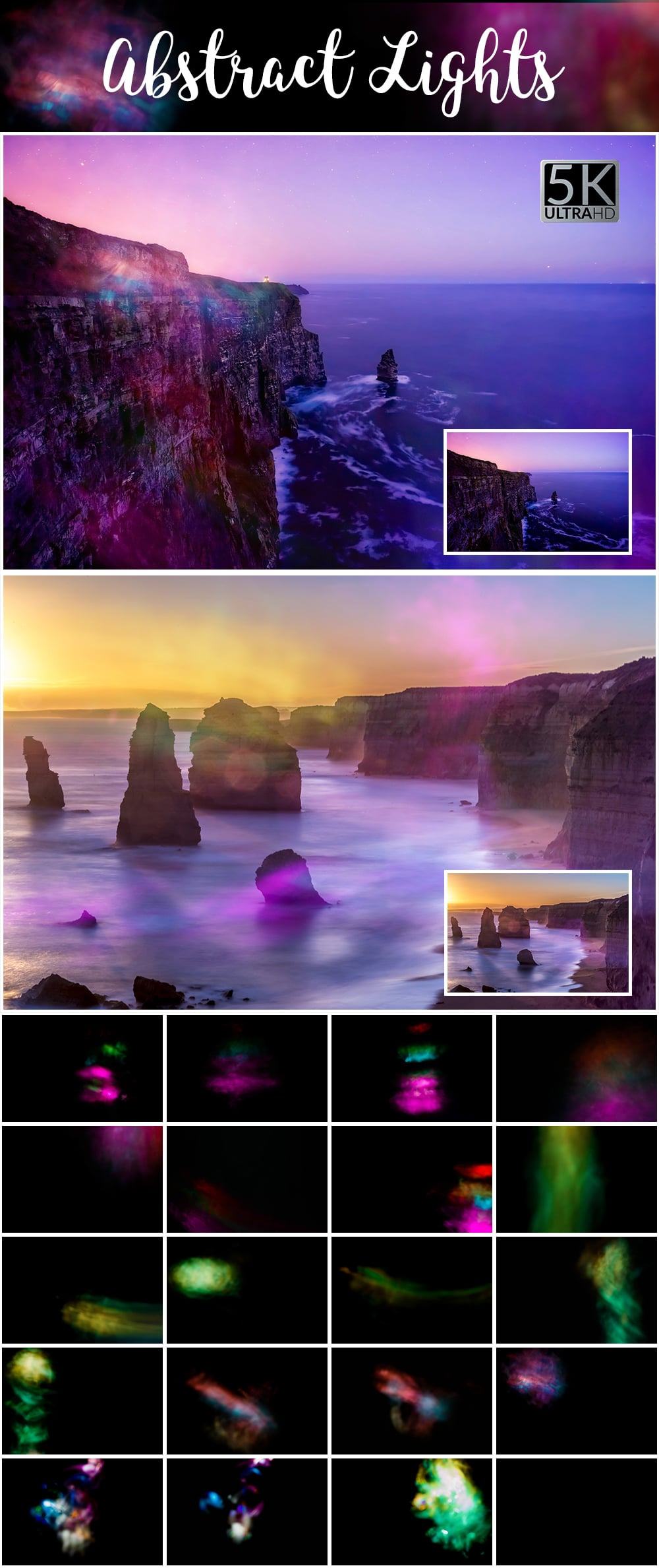 1100 Photoshop Overlays Mega Pack - Extended License - 13 Abstract Lights