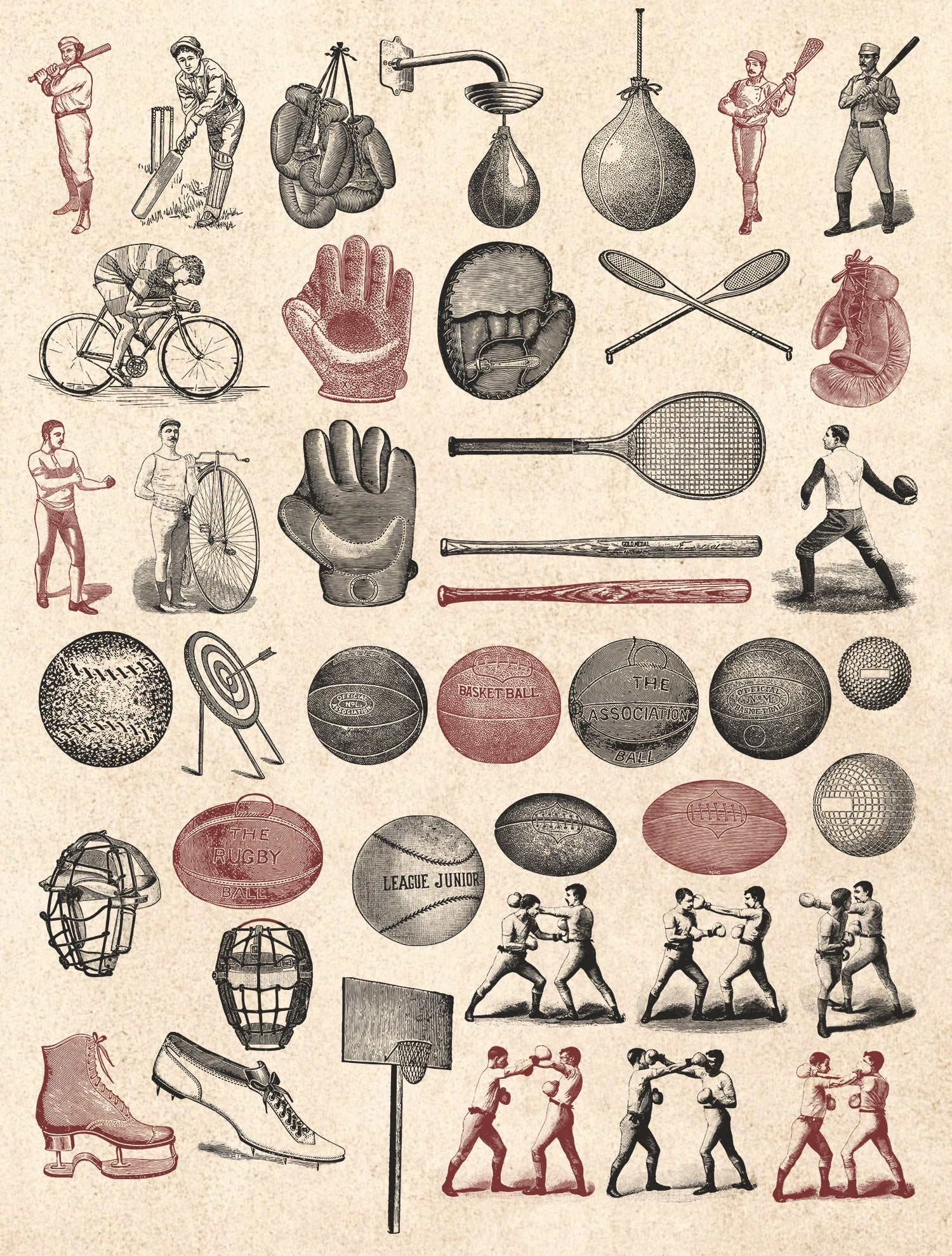 Sports are sports at any time. This is a large collection of vintage illustrations on a sports theme.