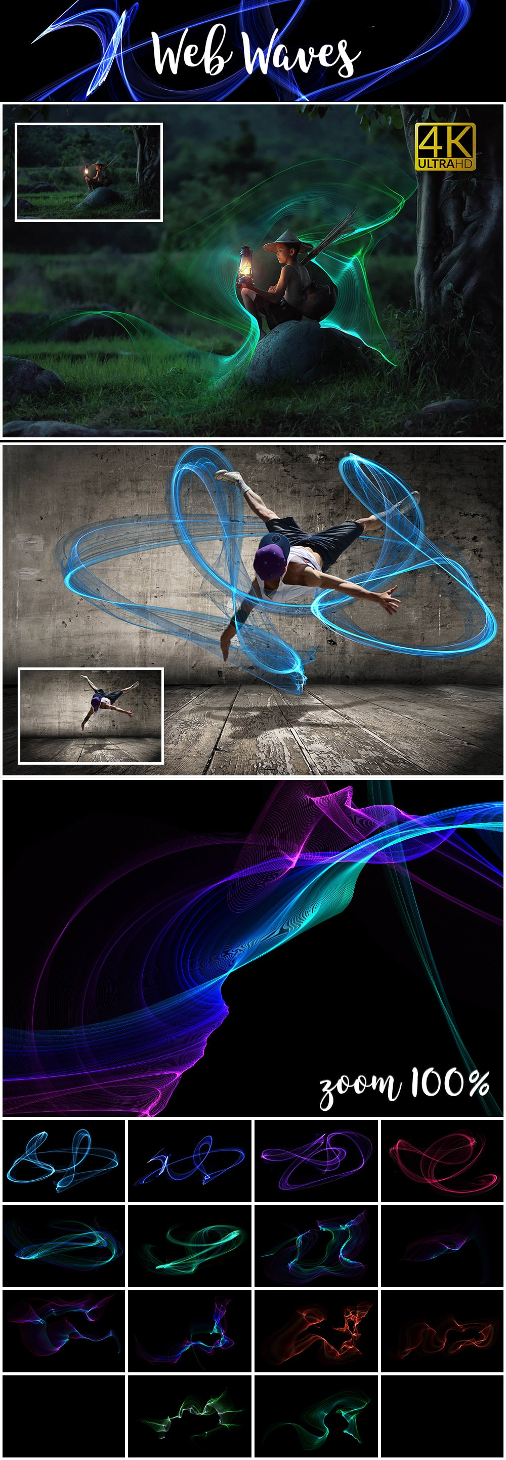 1100 Photoshop Overlays Mega Pack - Extended License - 15 Web Waves