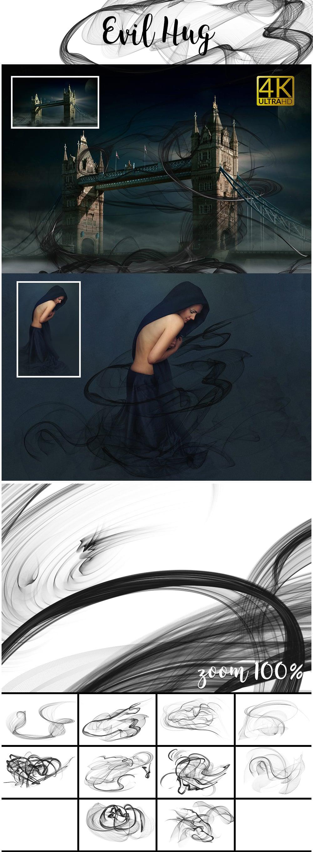 1100 Photoshop Overlays Mega Pack - Extended License - 16 Evil Hug