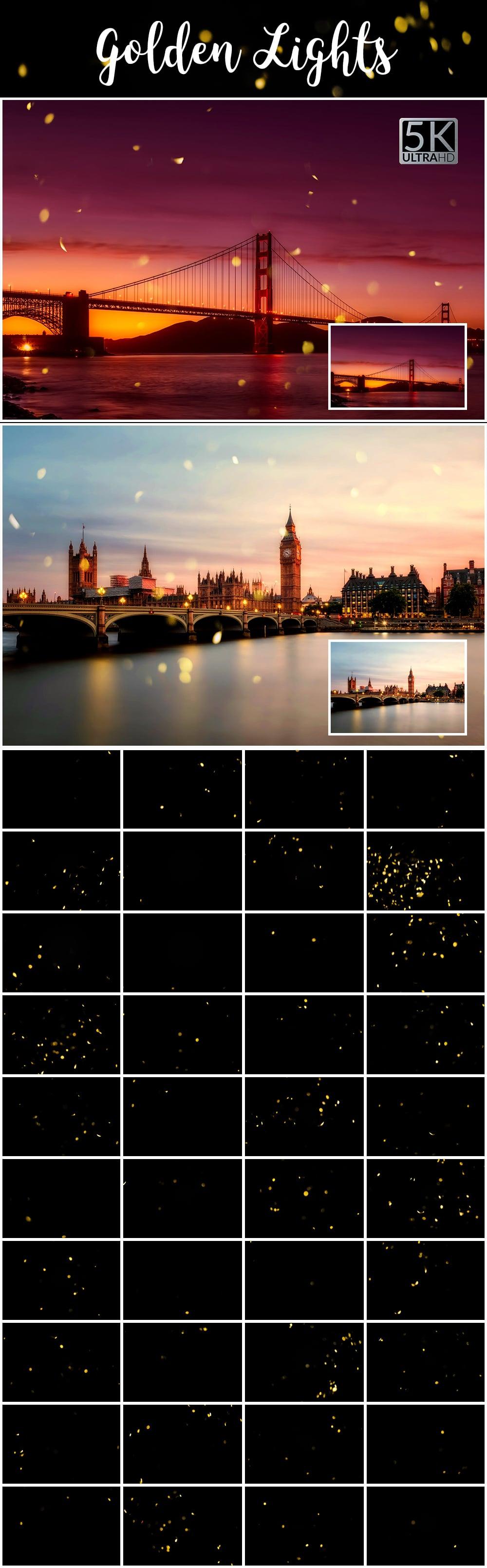 1100 Photoshop Overlays Mega Pack - Extended License - 19 Golden Lights