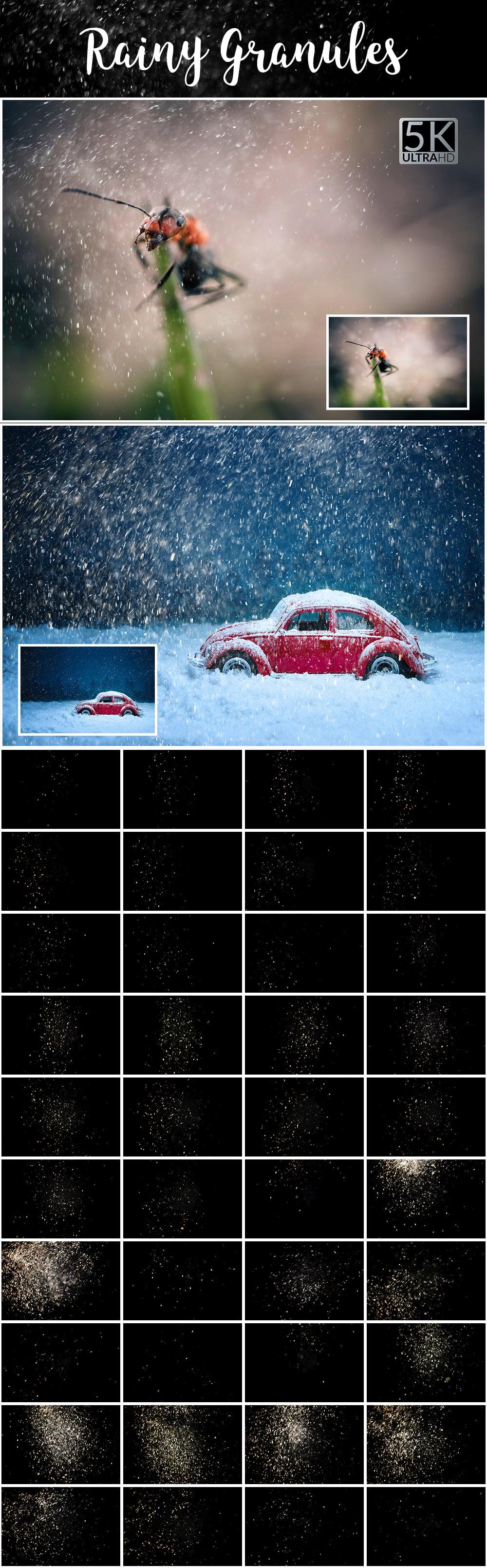 1100 Photoshop Overlays Mega Pack - Extended License - 22 Rainy Granules