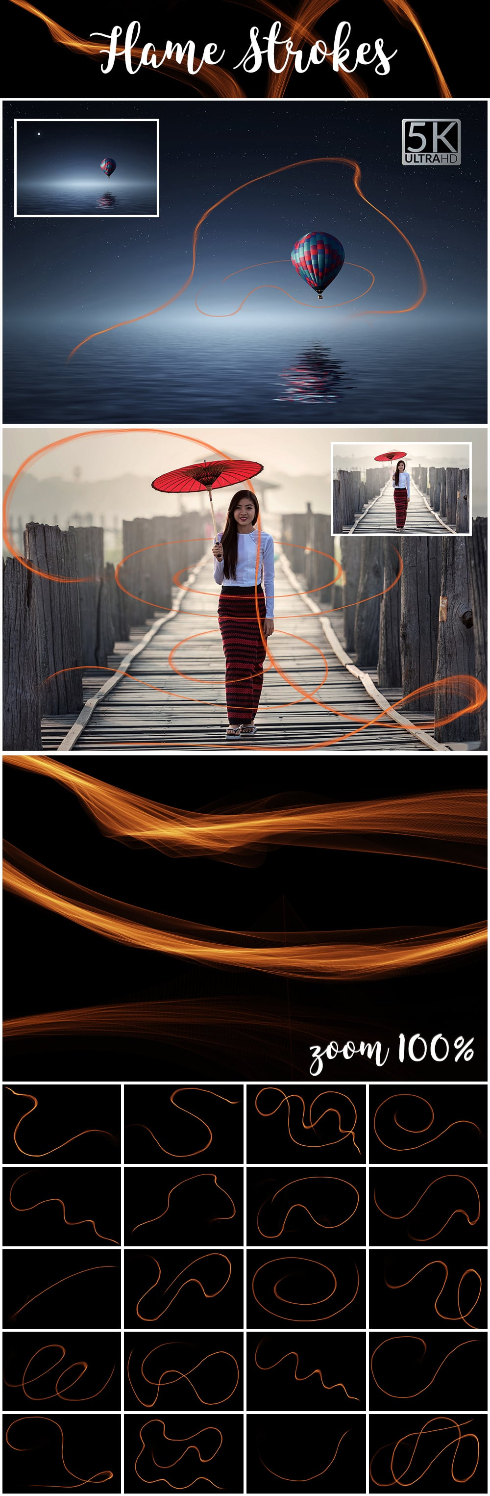1100 Photoshop Overlays Mega Pack - Extended License - 32 Flame Strokes