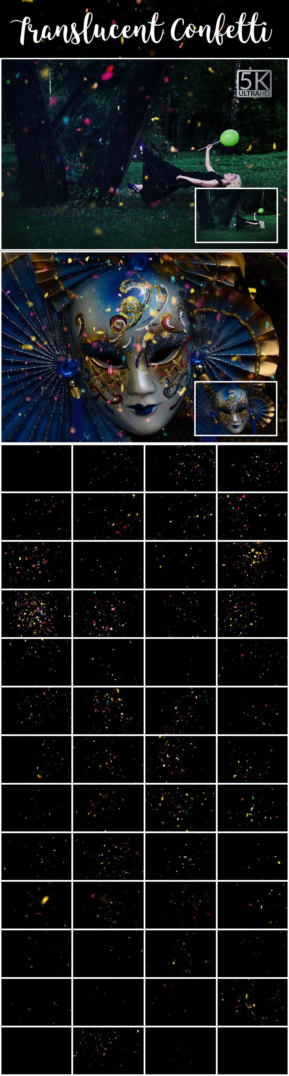 1100 Photoshop Overlays Mega Pack - Extended License - 34 Translucent Confetti
