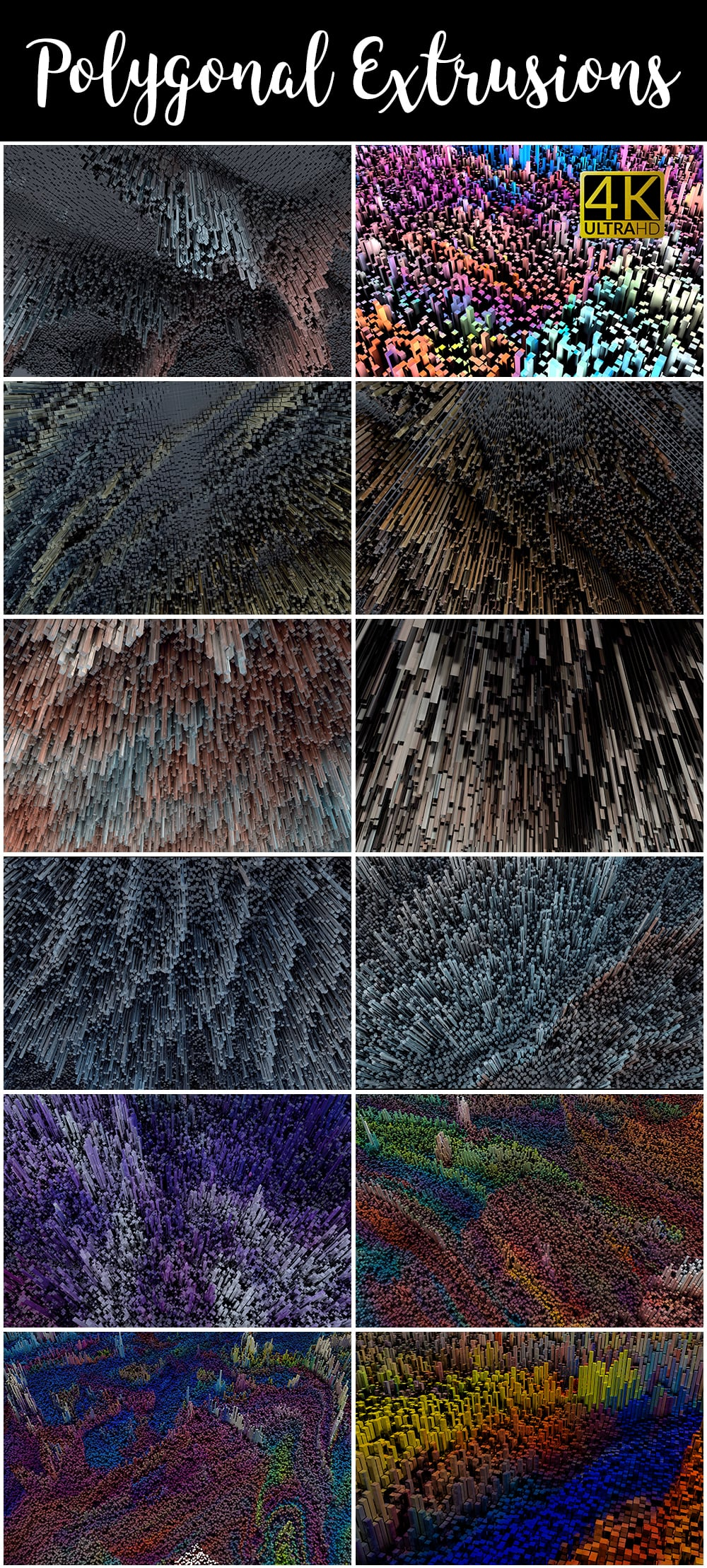 1100 Photoshop Overlays Mega Pack - Extended License - 38 Polygonal Extrusions