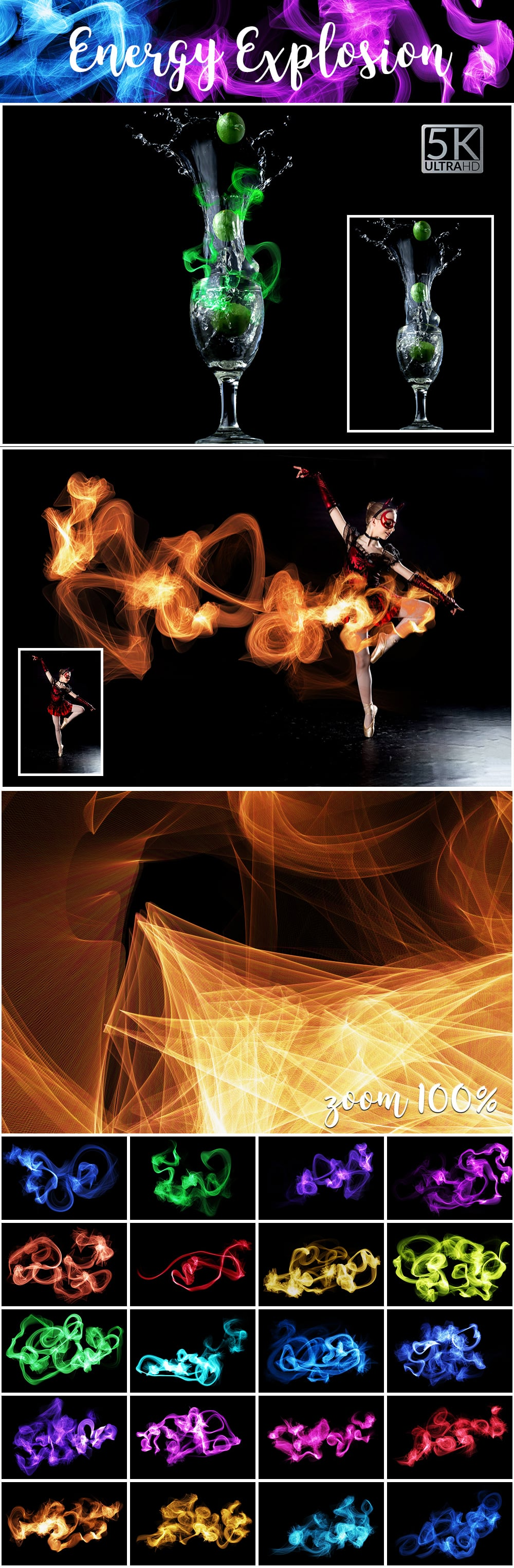1100 Photoshop Overlays Mega Pack - Extended License - 7 Energy Explosion