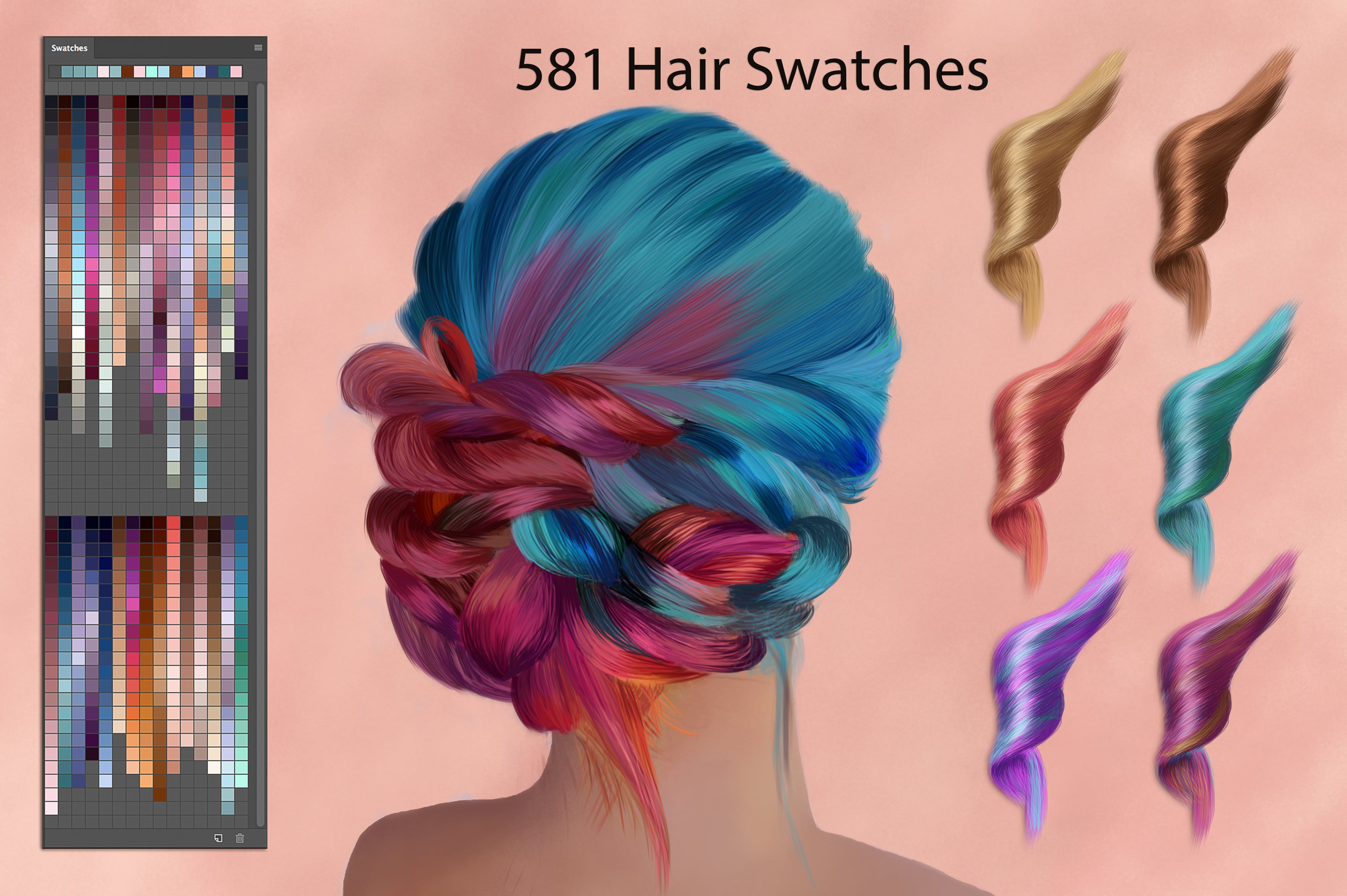 Digital Painting Assets - almost 3000 Elements - Hair