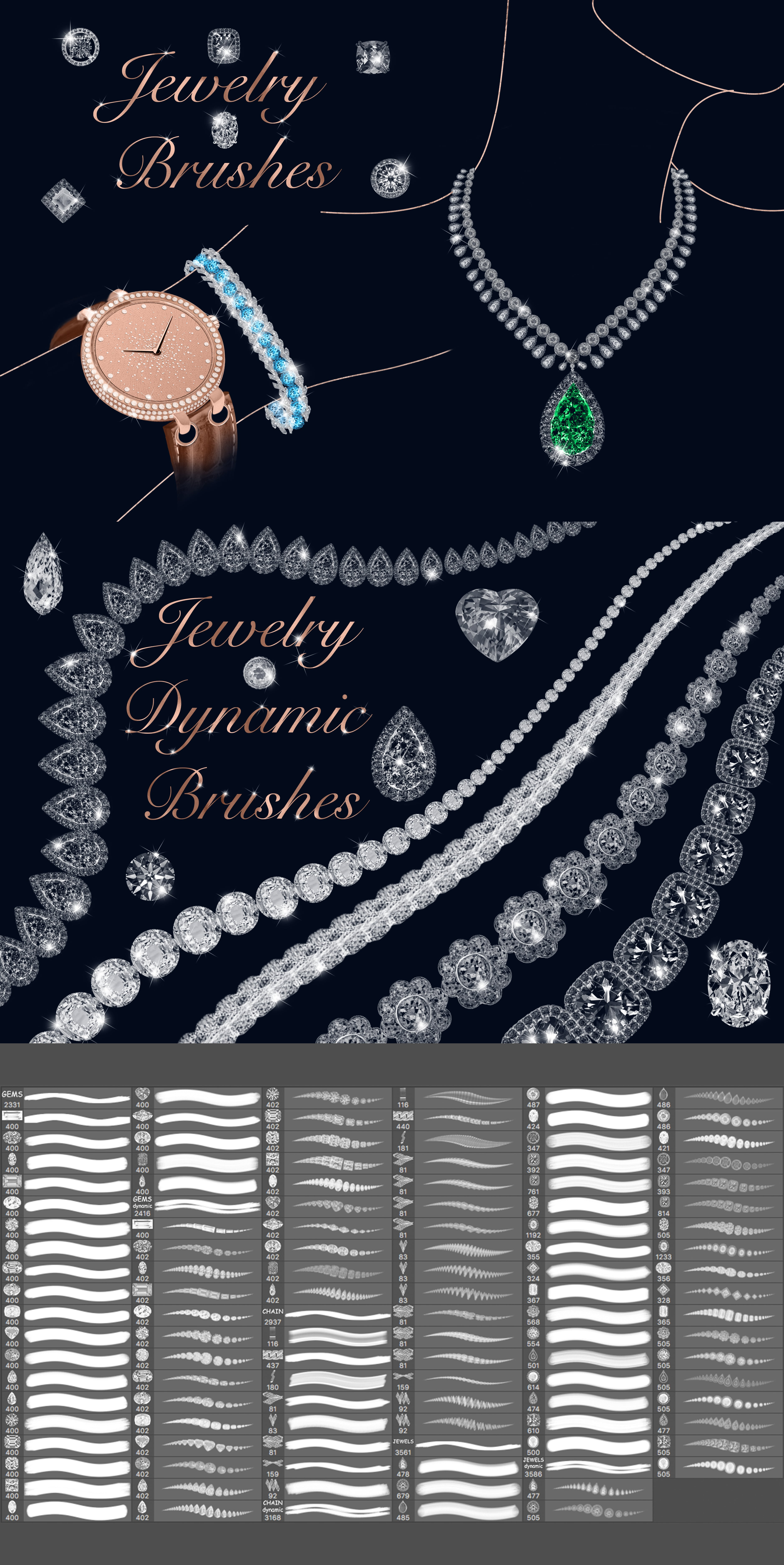 Digital Painting Assets - almost 3000 Elements - Jewelry