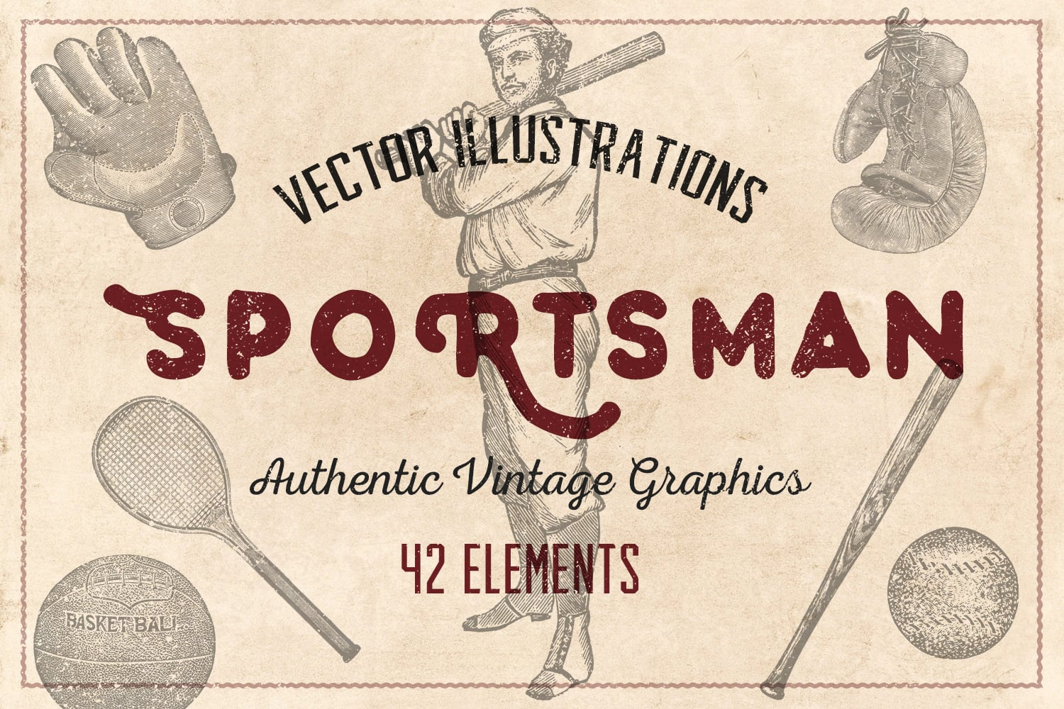 Vintage background with athlete and sports attributes.