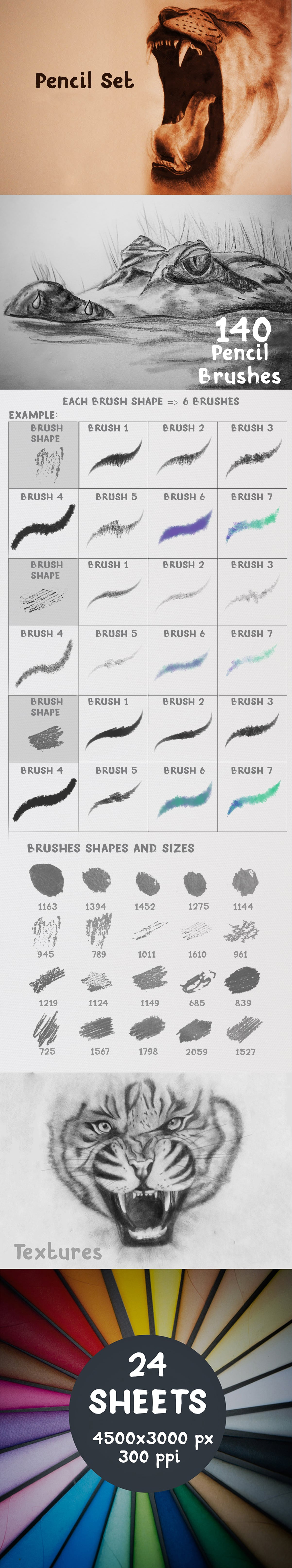 2500+ Artistic Brushes + Extra Assets - 02 Pencil