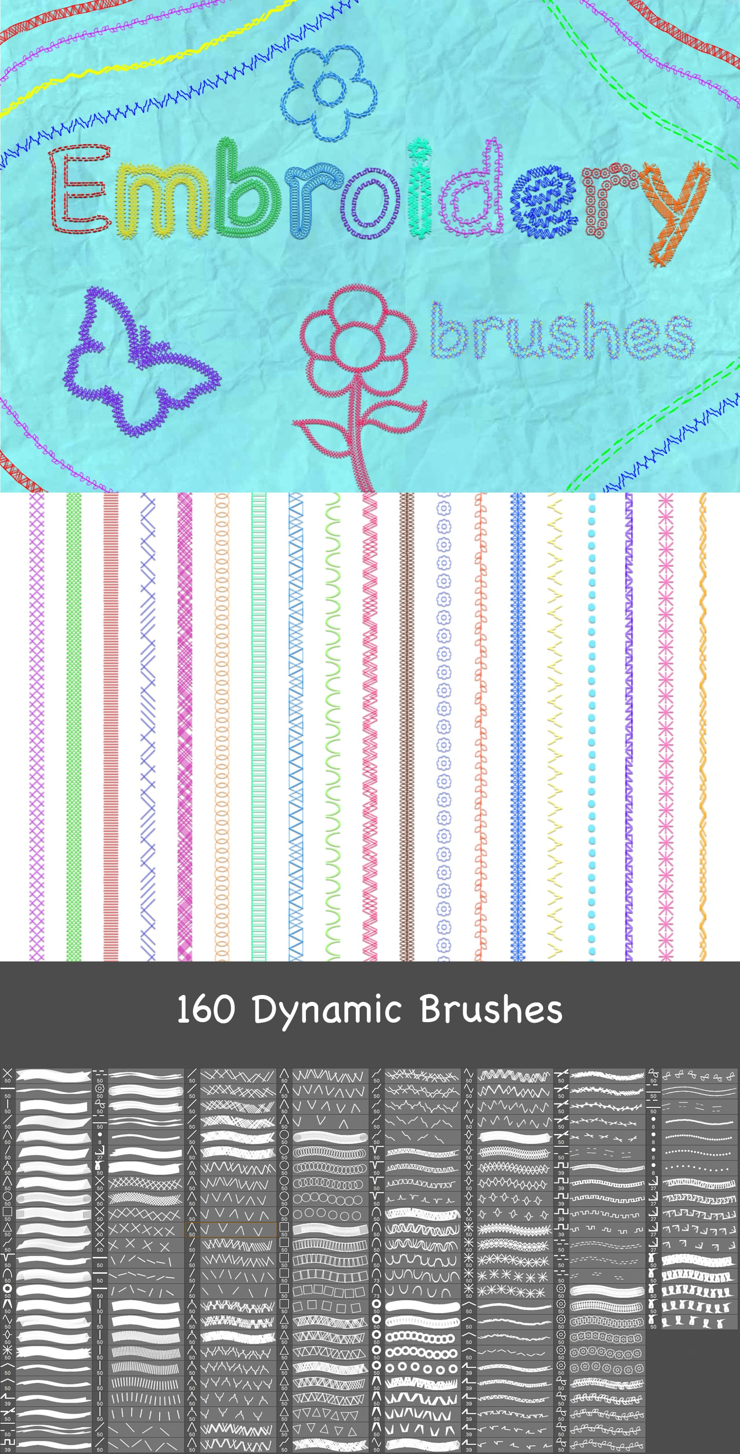 2500+ Artistic Brushes + Extra Assets - 09 Embroidery