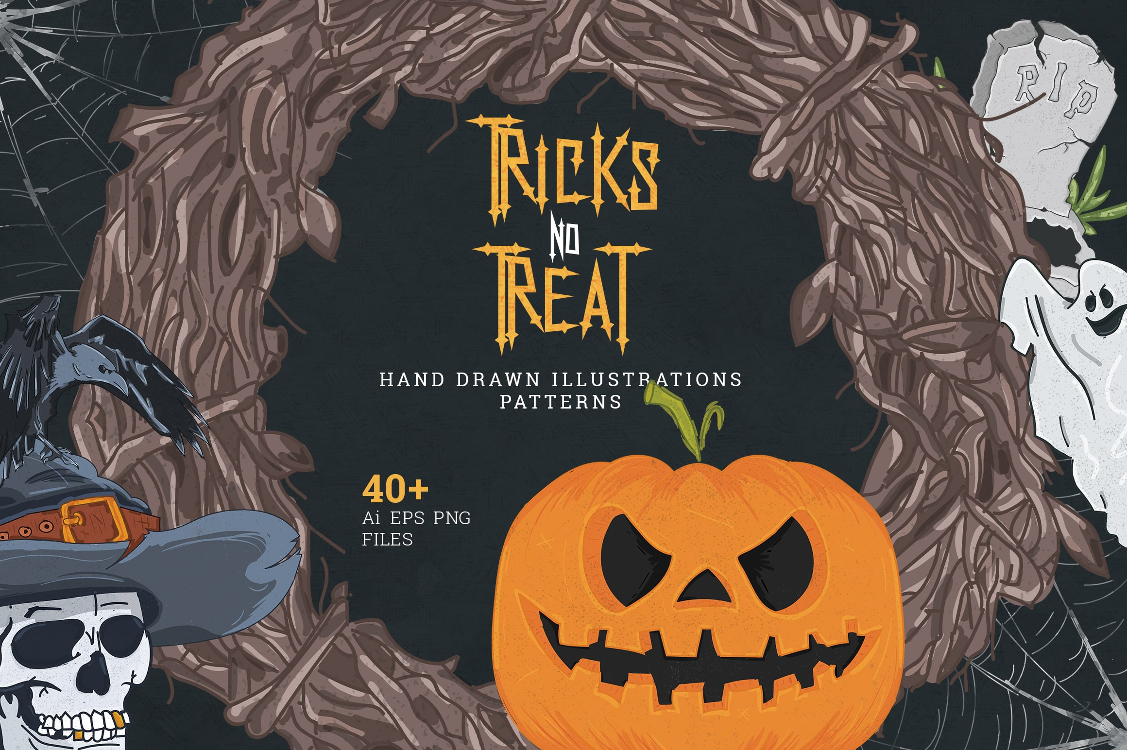 Tricks no Treat: 40+ Hand Drawn Halloween Illustrations