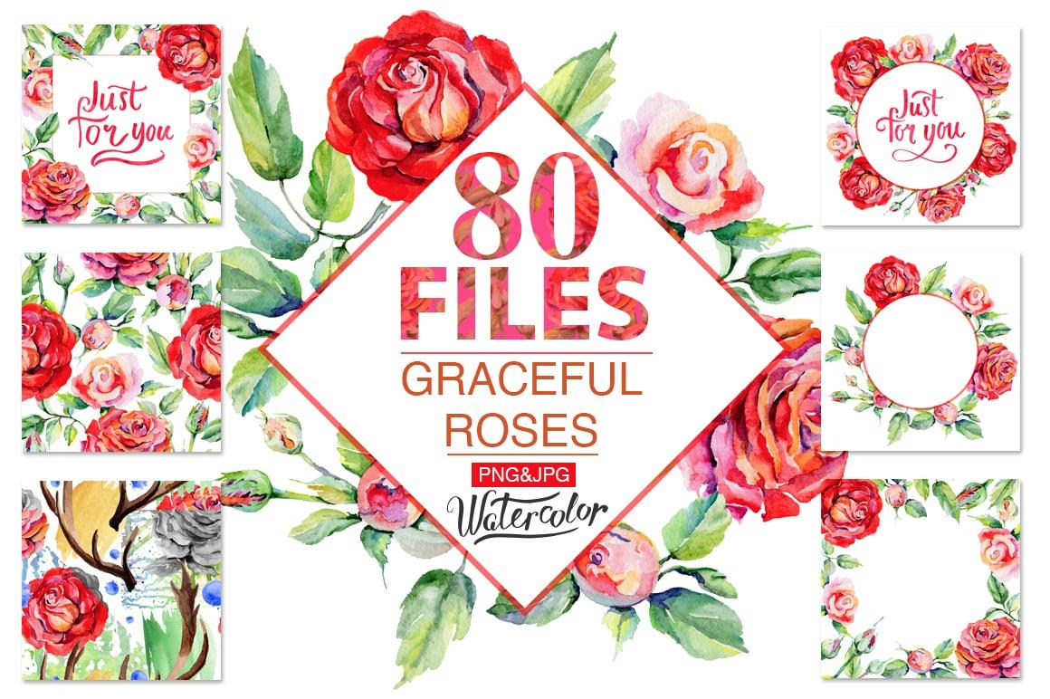 Watercolor Roses PNG