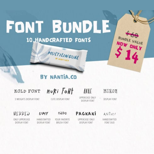 10 Handwritten Font Bundle Pack by Nantia.Co - 490 2 490x490