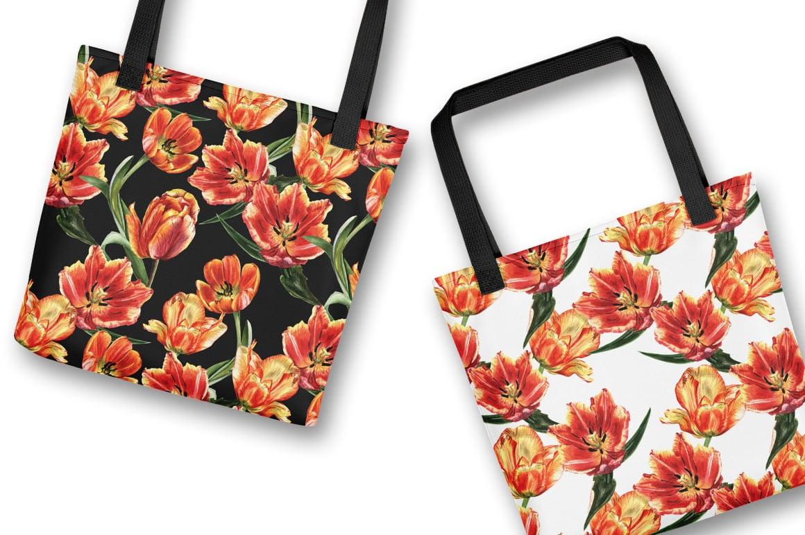 Tulip PNG watercolor flower set