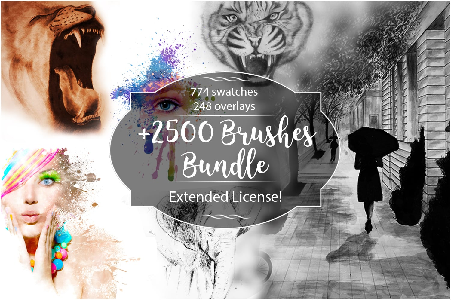 2500+ Artistic Brushes + Extra Assets - PreviewOverlays