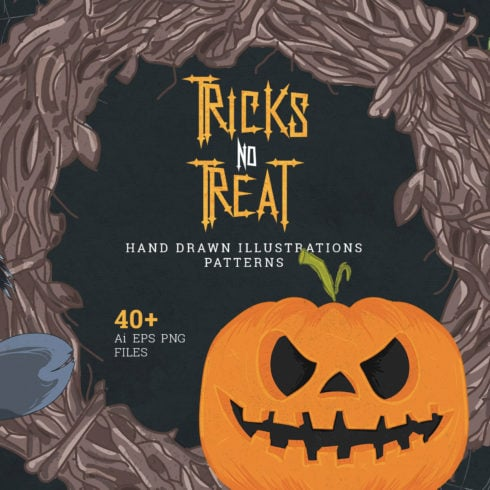 Tricks no Treat: 40+ Hand Drawn Halloween Illustrations - $10 - Untitled 2 1 490x490