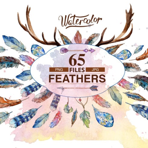 Feather watercolor birds  - just $2 - bundle 1 1 490x490