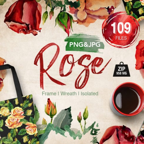 Roses flowers PNG watercolor set - 1 cover 1 1 490x490