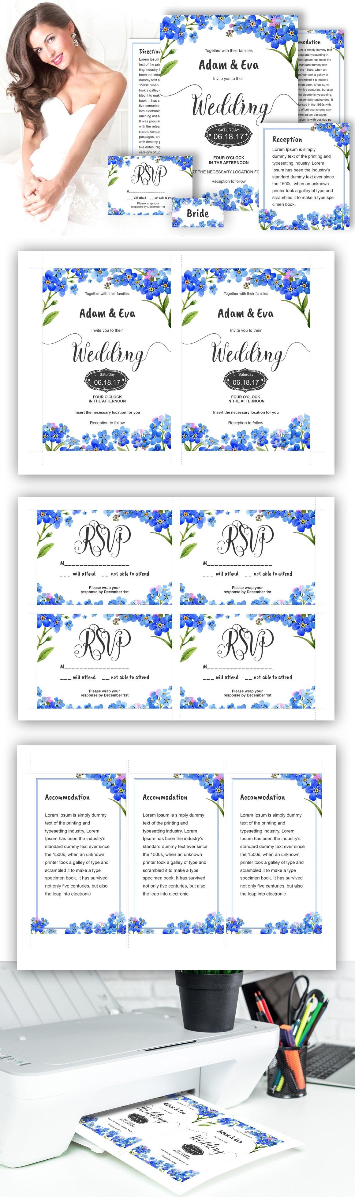 Myosotis flowers PNG watercolor set