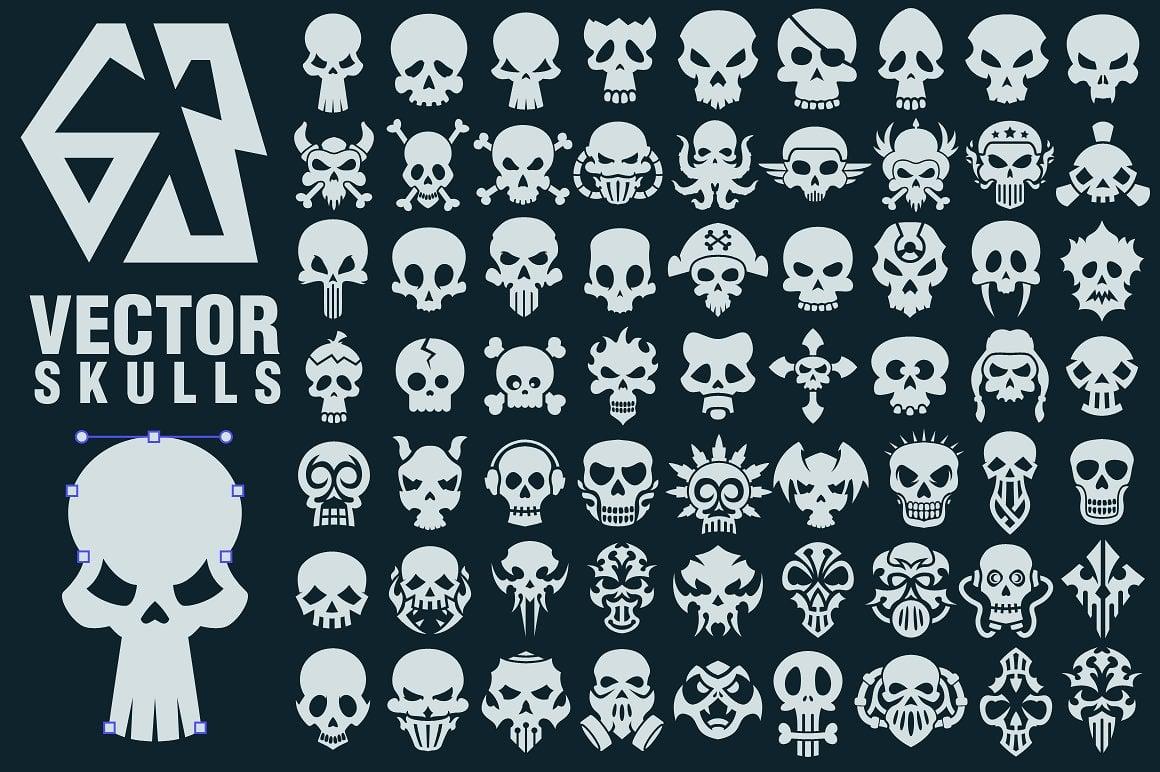 Halloween Graphics Bundle - 2046 Elements - just $9 - 63 vector skulls collection cm