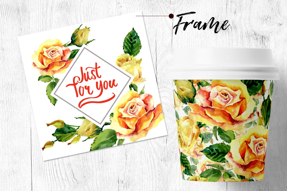 Roses flowers PNG watercolor set