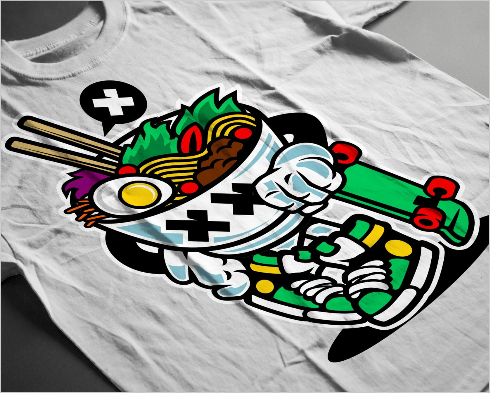 White t-shirt with colorful udon.