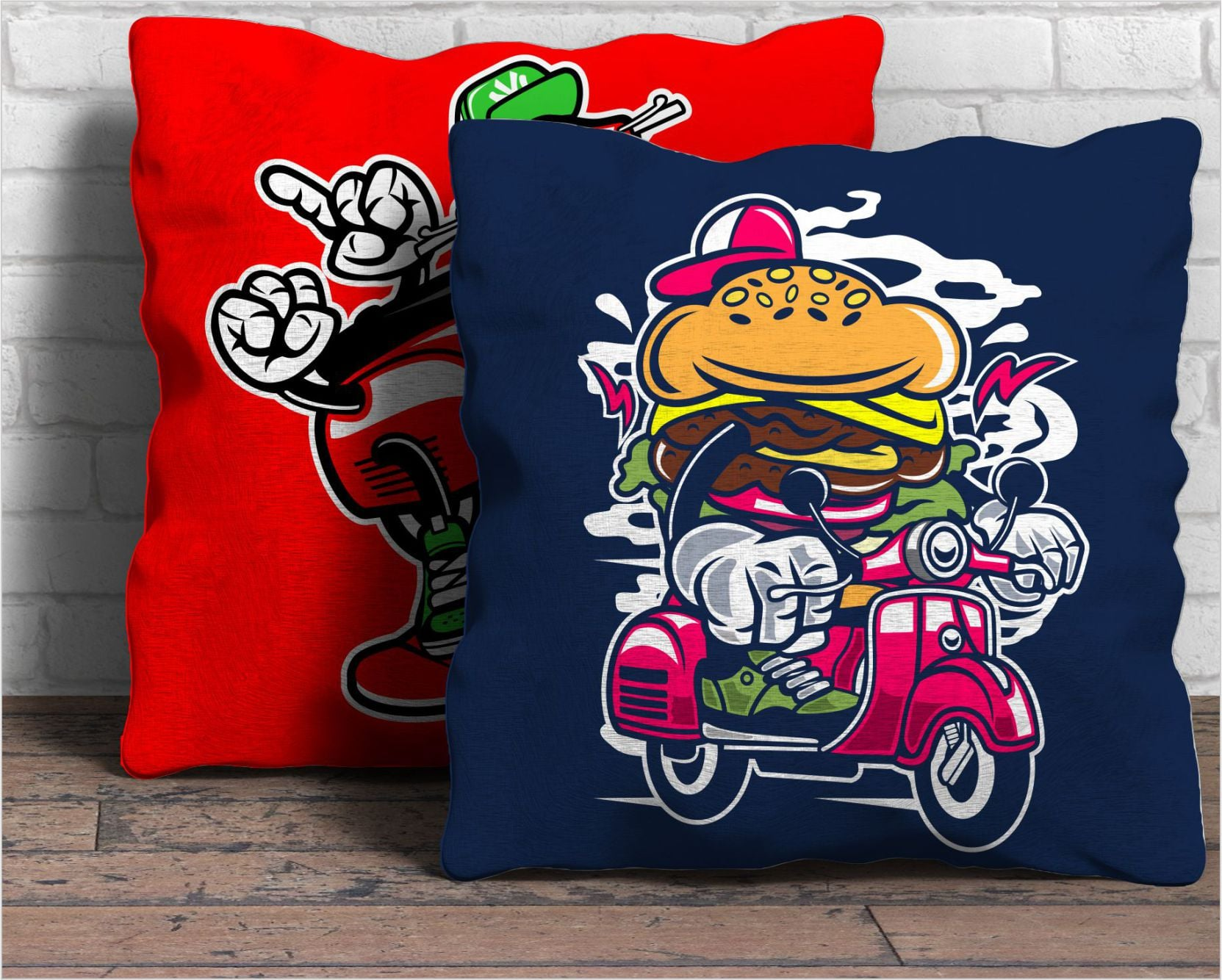Modern cartoon illustrations on the pillows.