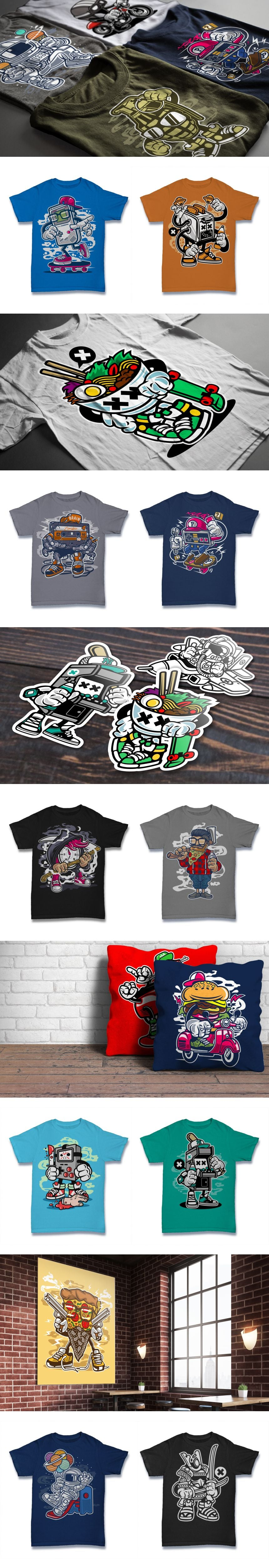 101 T-shirt Designs with cartoon concept. Collage for pinterest.