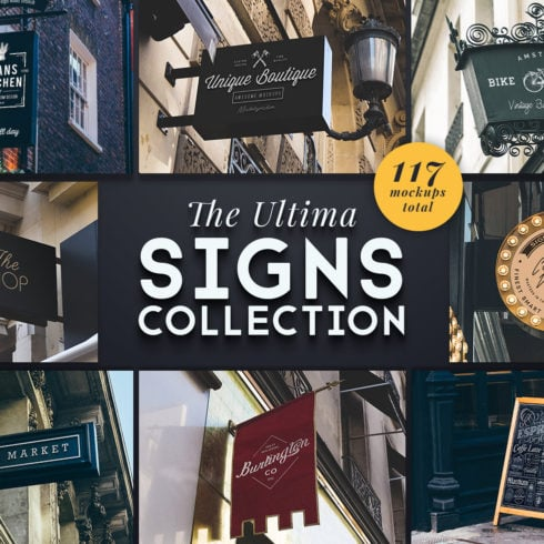 Street Sign Mockup Collection - 117 Mockups - The Ultima Sign Collection Cover 490x490