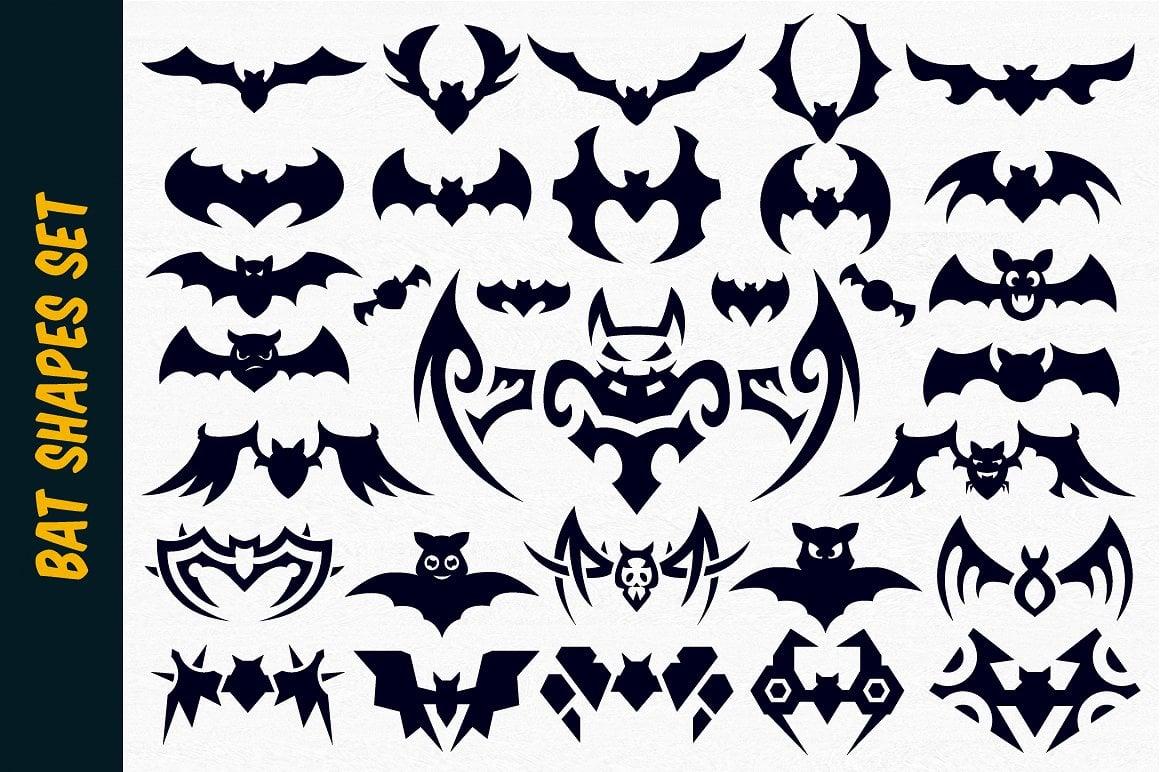 Halloween Graphics Bundle - 2046 Elements - just $9 - bat vector shapes for halloween cm