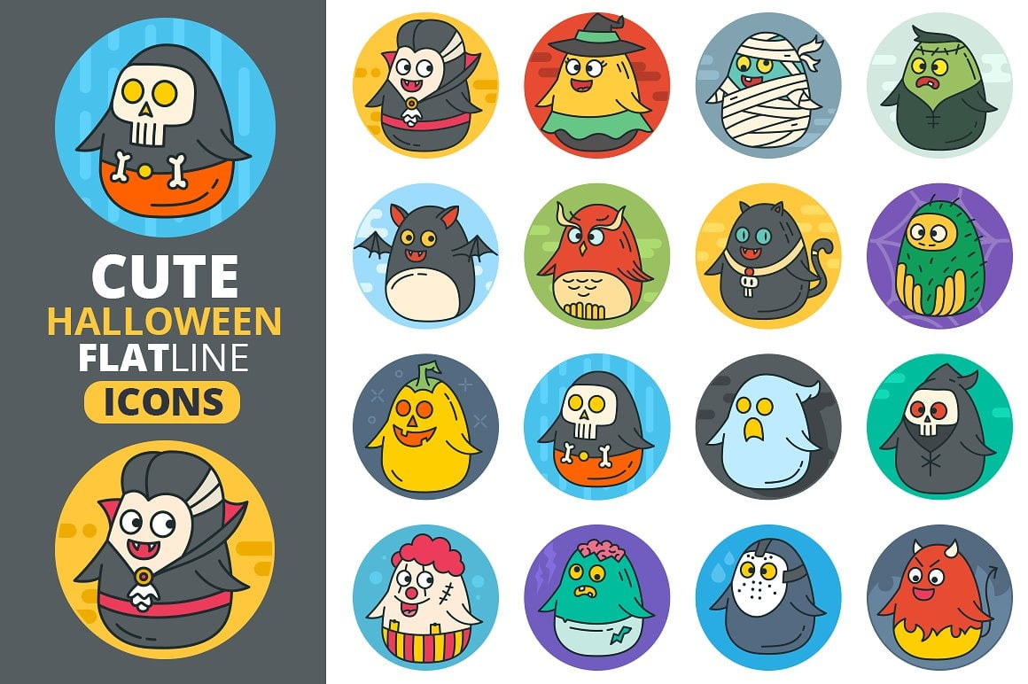 Cute Flat Halloween Characters