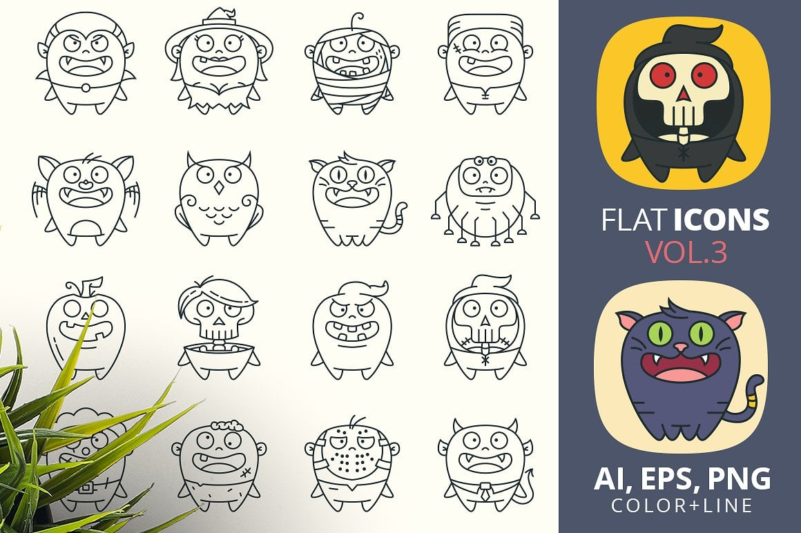 Halloween Graphics Bundle - 2046 Elements - just $9 - cute halloween characters in flat line style vol3preview2